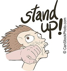 funny stand up message hand draw punch