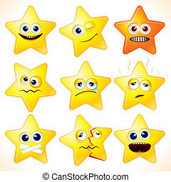 Smiley cartoon stars, clip art with various facial expressions and emotions.