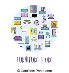 Furniture and home accessories banner with vector flat icons sofa, bookshelf, bed, tables. Set icons of furniture, lighting, decoration and household appliances.