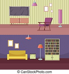 Furniture horizontal banner set with house accessories vector illustration