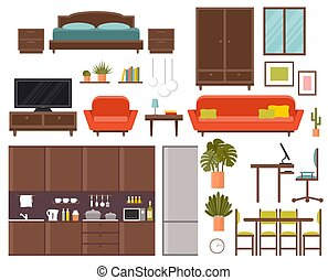 Furniture set. Bedroom, kitchen, dining room