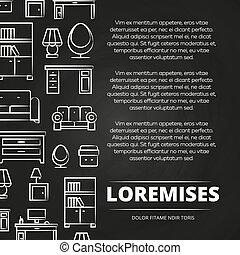 Furniture shop or advertising blackboard poster design