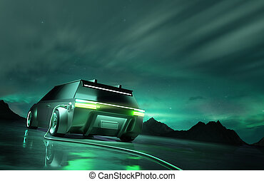 Futuristic Green Electric Car Charging Up