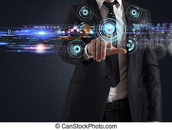 Businessman working with a futuristic touch screen interface