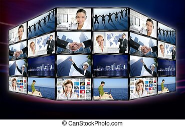 Futuristic tv video news digital screen wall with business concepts