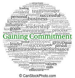 Gaining Commitment concept in word tag cloud on white background