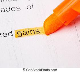 gains word