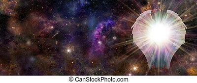 Wide panel of deep space with a pair of Angel Wings on the right hand side and a bright light bursting between depicting an Angelic Guardian