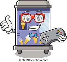 Gamer ice cream vending machine mascot shape