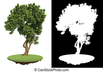 Garden Green Tree with Detail Raster Mask.