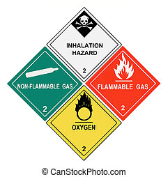 United States Department of Transportation class 2 gases warning labels isolated on white