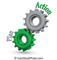 """Gears with the text """"action"""" and """"plan""""."""