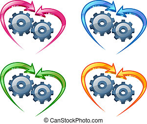 Gears and arrows in the shape of a heart.