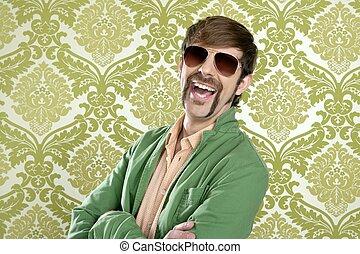 geek retro salesperson man funny mustache sunglasses in green wallpaper