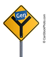Gen blue stiker on yellow Y road sign (Generation Why concept)