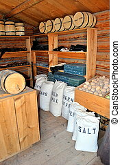 General store in the old west with various supplies.