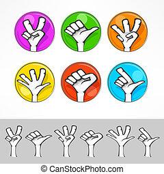 Gestures of cartoon human hand