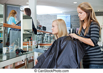 Getting Female Ready For Haircut