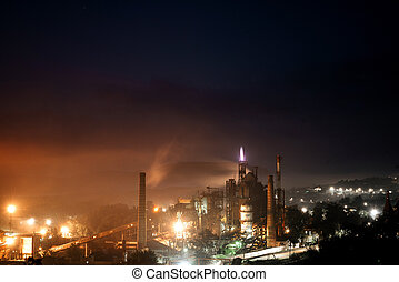 Giant industrial plant. Night view