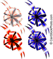 Gift bows on white background, top