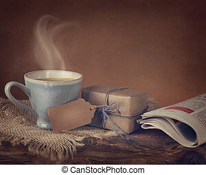 Gift box and a cup of coffee