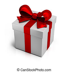 gift box with silk red ribbon. 3d image. Isolated white background.