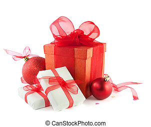 Gift boxes and christmas balls, Isolated on white.
