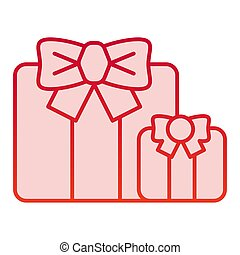 Gifts color icon. Two present boxes symbol, gradient style pictogram on white background. Party or holiday item sign for mobile concept and web design. Vector graphics.