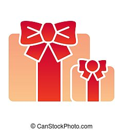 Gifts flat icon. Two present boxes symbol, gradient style pictogram on white background. Party or holiday item sign for mobile concept and web design. Vector graphics.