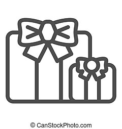 Gifts line icon. Two present boxes symbol, outline style pictogram on white background. Party or holiday item sign for mobile concept and web design. Vector graphics.