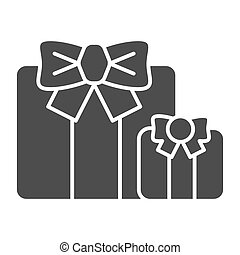 Gifts solid icon. Two present boxes symbol, glyph style pictogram on white background. Party or holiday item sign for mobile concept and web design. Vector graphics.