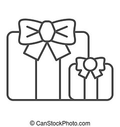 Gifts thin line icon. Two present boxes symbol, outline style pictogram on white background. Party or holiday item sign for mobile concept and web design. Vector graphics.