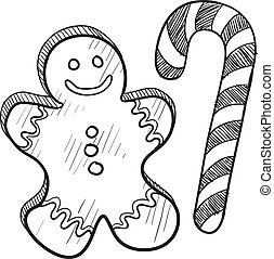 Gingerbread man and candy cane
