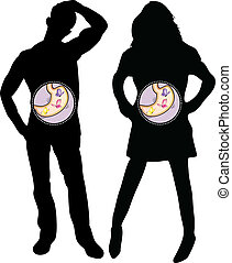 Girl and Boy Silhouette with Butterflies in the Stomach. Editable Vector Illustration