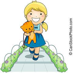 Girl and Pet Cat