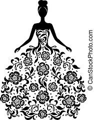 Girl in a dress with floral ornament silhouette