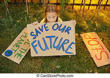 Girl Protesting for Ecology and Environment