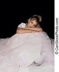 Girl Relaxing in Sister's Gown