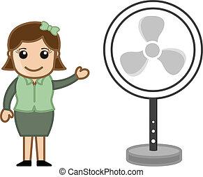 Conceptual Drawing Art of Cartoon Saleswoman Presenting a Table Fan Vector Illustration
