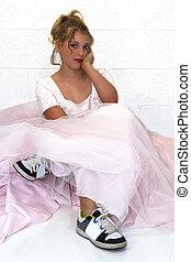 Girl Wearing Sister's Prom Dress