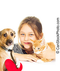 Girl with a kitten and a dog