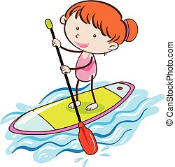 Girl with Stand Up Paddle Board