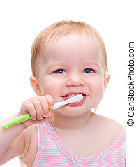 Girl with toothbrush isolated