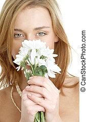 girl with white chrysanthemum