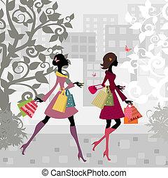 Girls walking around town with shopping