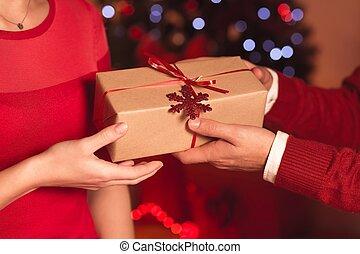 Giving Christmas present