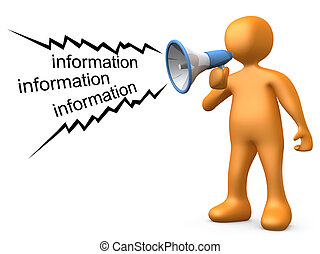 3d person holding a megaphone, giving information .