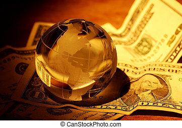 Glass Globe on Money With Creative Lighting. Global Finance Concept