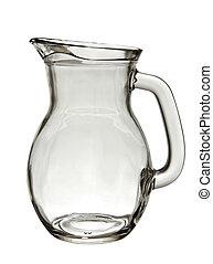 Empty glass jug isolated on white background