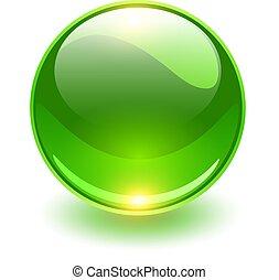Glass sphere, green